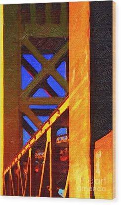 Nightfall Over Sacramento In Abstract . Vision 2 Wood Print by Wingsdomain Art and Photography