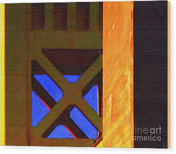 Nightfall Over Sacramento In Abstract . Vision 3 Wood Print by Wingsdomain Art and Photography
