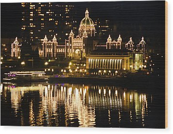 Nightscape Of Parliment Wood Print by MaryJane Armstrong