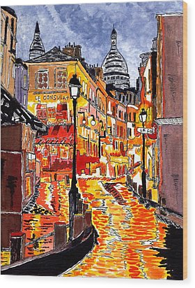 Nighttime In Paris Wood Print