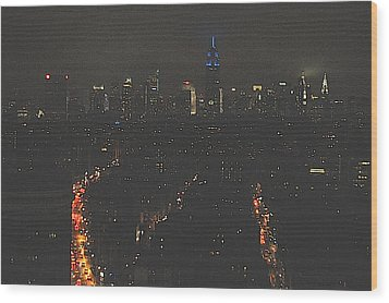 Nighttime Manhattan Skyline From Houston Street Wood Print