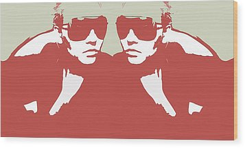 Niki In Mirror Wood Print by Naxart Studio