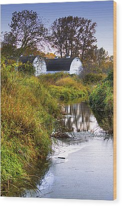 Nisqually Wildlife Refuge P21 The Twin Barns Wood Print by David Patterson