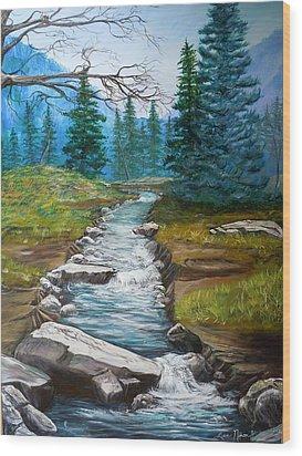 Nixon's Bubbling Running Creek Wood Print by Lee Nixon