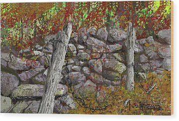 Wood Print featuring the drawing N.j. Rock Fence by Jim Hubbard