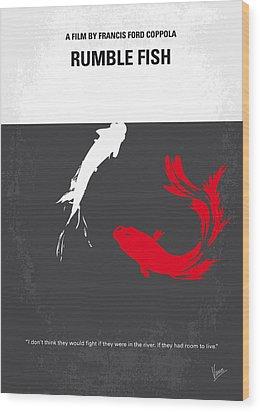 No073 My Rumble Fish Minimal Movie Poster Wood Print by Chungkong Art
