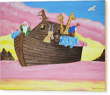 Noah's Ark Wood Print by Christie Minalga