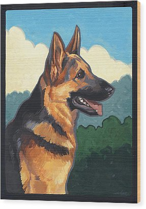 Noble German Shepherd Dog Wood Print by Shawn Shea