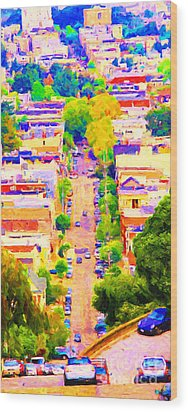 Noe Street In San Francsico 2 . Long Cut Wood Print by Wingsdomain Art and Photography