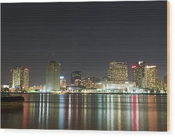 Wood Print featuring the pyrography Nola Nights by Ray Devlin