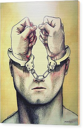 Normalize Pacify Contain Adapt Integrate Control And Adjust To Corrupt Society Wood Print by Paulo Zerbato