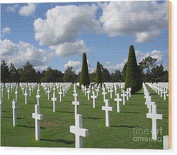 Normandy American Cemetery Wood Print by Carol Groenen