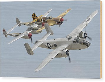 North American B-25j Mitchell Curtiss P-40n Warhawk Lockheed P-38l Lightning March 14 2011 Wood Print by Brian Lockett