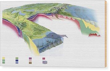 North American Geology And Oil Slick Wood Print by Gary Hincks