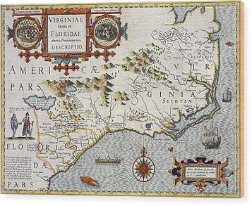 North Carolina Wood Print by Jodocus Hondius