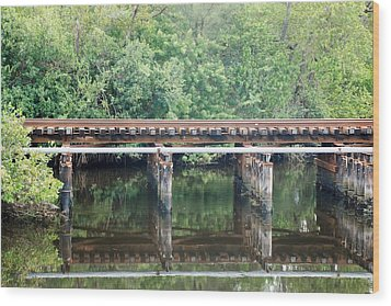 North Fork River Bridge Wood Print by Rob Hans