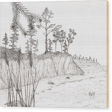 North Shore Memory... - Sketch Wood Print by Robert Meszaros