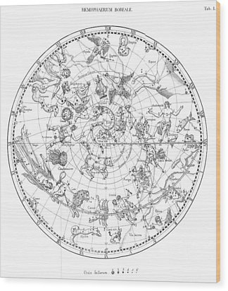 Northern Celestial Map Wood Print by Science, Industry & Business Librarynew York Public Library