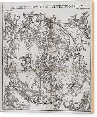Northern Hemisphere Star Chart, 1537 Wood Print by Middle Temple Library