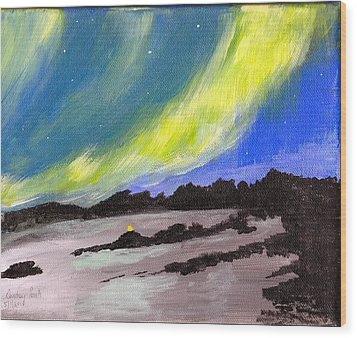 Wood Print featuring the painting Northern Lights 1 by Audrey Pollitt