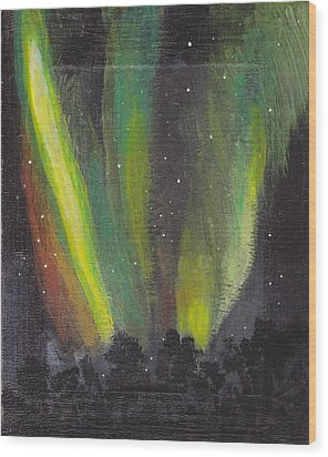 Wood Print featuring the painting Northern Lights 3 by Audrey Pollitt