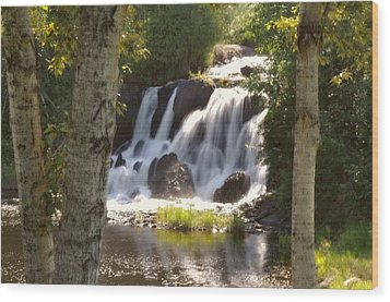 Northwoods Falls Wood Print by Marty Koch