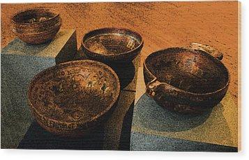 Norwegian Bowls Wood Print by Nina Fosdick