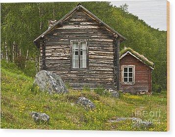 Norwegian Timber House Wood Print by Heiko Koehrer-Wagner