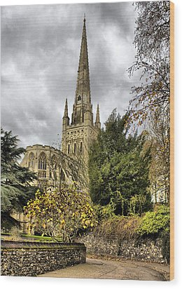 Norwich Cathedral England Wood Print by Darren Burroughs