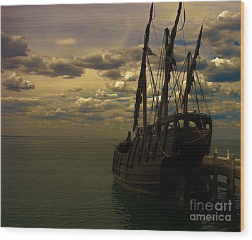 Notorious The Pirate Ship Wood Print by Blair Stuart