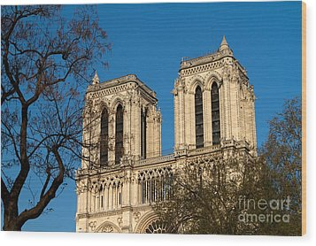 Wood Print featuring the photograph Notre Dame Towers by Kim Wilson