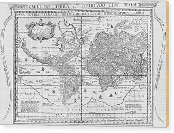 Nova Totius Terrarum Orbis Geographica Ac Hydrographica Tabula Wood Print by Dutch School