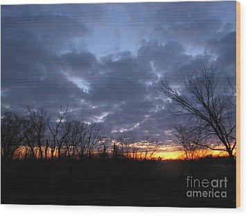 November Sunrise Wood Print by Cedric Hampton
