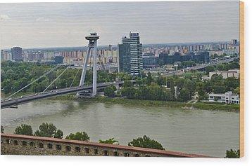 Novy Most Bridge - Bratislava Wood Print by Jon Berghoff