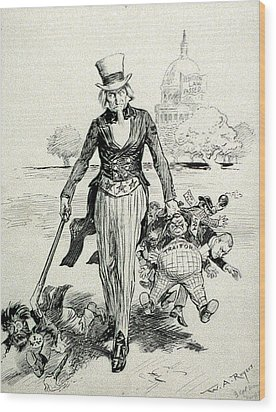 Now For A Round-up Uncle Sam Gathering Wood Print by Everett