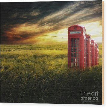 Now Home To The Red Telephone Box Wood Print by Lee-Anne Rafferty-Evans
