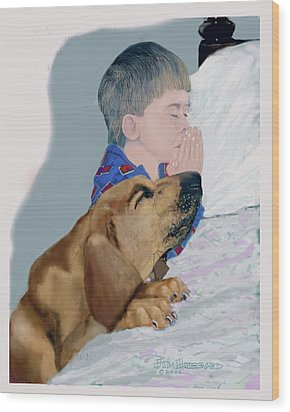Wood Print featuring the drawing Now I Lay Us Down To Sleep by Jim Hubbard