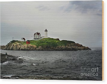 Nubble Light Wood Print by Adrian LaRoque