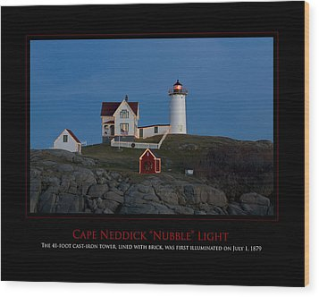 Nubble Light Wood Print by Jim McDonald Photography