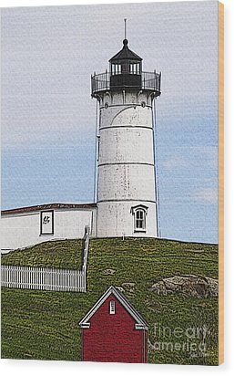 Nubble Lighthouse- Canvas Wood Print by Luke Moore