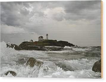 Wood Print featuring the photograph Nubble Lighthouse In The Thick by Rick Frost