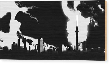 Nuclear Fallout Wood Print by Russell Clenney