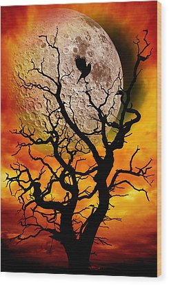 Nuclear Moonrise Wood Print by Meirion Matthias