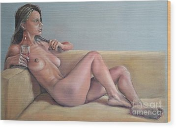 Nude And Red Wine Wood Print by Ahto Laadoga