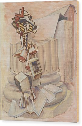 Nude Ascending A Staircase Wood Print by Roger Clark