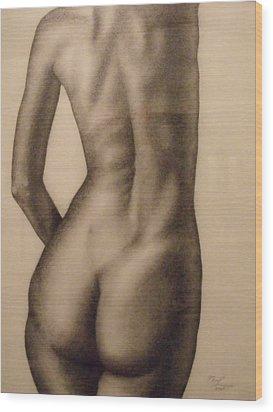 Nude Female Study Of Back Wood Print by Neal Luea