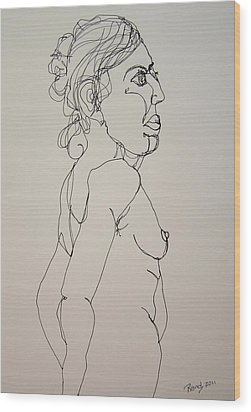 Nude Girl In Contour Wood Print by Rand Swift