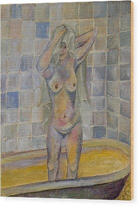 Nude In Bath Wood Print by Kristelle Ulrich