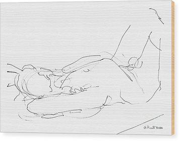 Nude-male-drawings-12 Wood Print by Gordon Punt