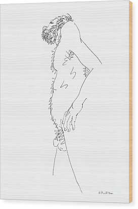 Wood Print featuring the drawing Nude Male Drawings 6 by Gordon Punt